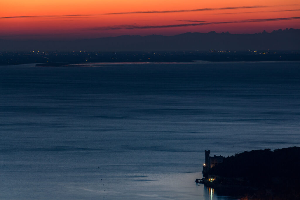 Sunset,On,The,Gulf,Of,Trieste,Where,Miramare,Castle,Stands